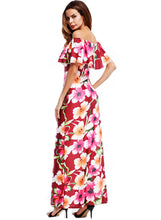 Load image into Gallery viewer, Women's off Shoulder Ruffle Floral Print Bodycon Maxi Dress