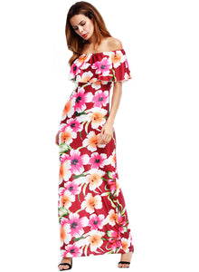 Women's off Shoulder Ruffle Floral Print Bodycon Maxi Dress