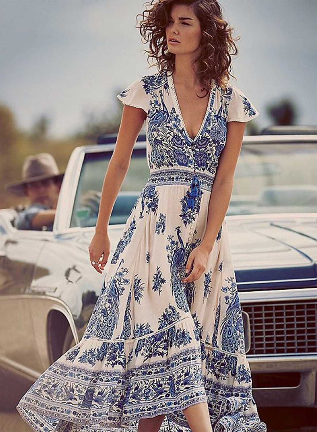 Women S V Neck Cap Sleeve Floral Slit Maxi Dress Azbro