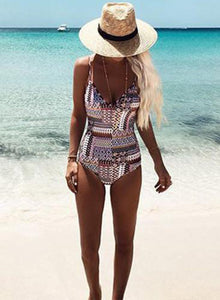 Women's Fashion One Piece Printed Slim Fit Swimsuit