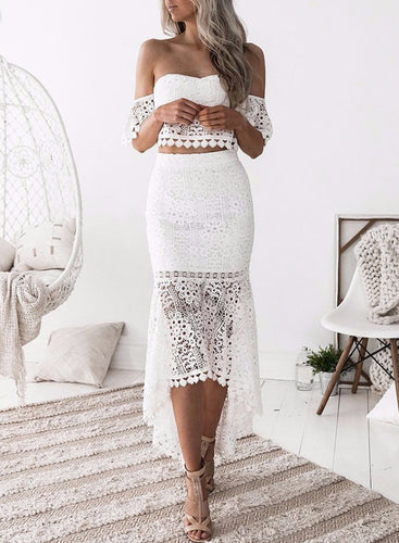 Lace Crop Top Mermaid Skirt Dress 2 Piece Clothing