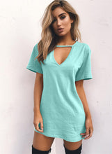 Load image into Gallery viewer, Women's V Neck Loose Solid Color Short Sleeve Dress