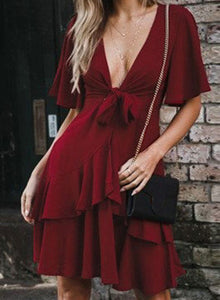Women's Sexy V Neck Front Knot Half Sleeve Elastic Waist Ruffle Dress