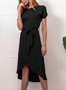Casual Round Neck Short Sleeve Bow Tie Solid Color Dress