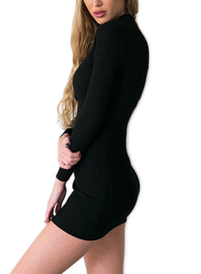 Sexy V Neck Long Sleeve Solid Color Bodycon Dress