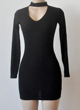 Load image into Gallery viewer, Sexy V Neck Long Sleeve Solid Color Bodycon Dress