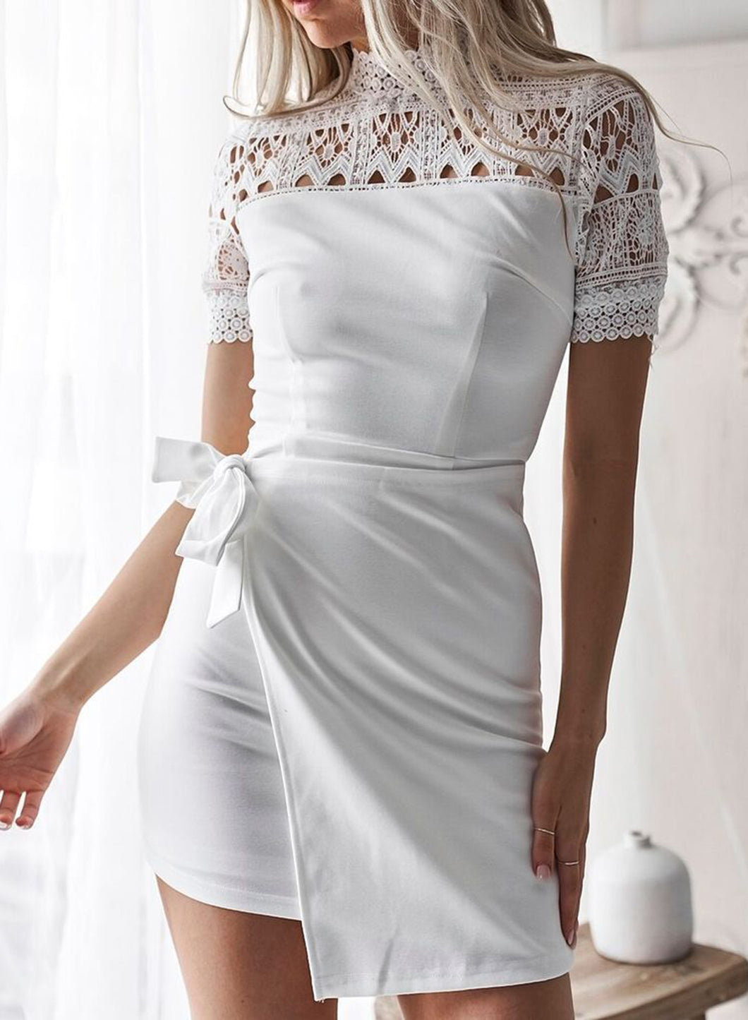 Sexy High Neck Short Sleeve Bow Tie Lace Hollow Out Dress