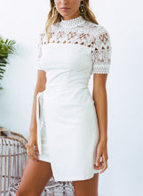 Load image into Gallery viewer, Sexy High Neck Short Sleeve Bow Tie Lace Hollow Out Dress