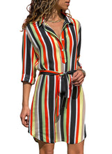 Load image into Gallery viewer, Five Color Print Button V Neck Shirt Dress