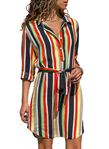 Five Color Print Button V Neck Shirt Dress