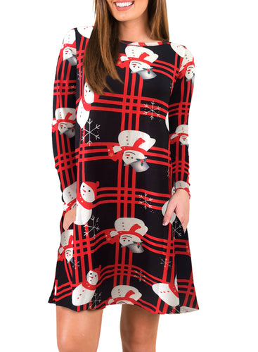 Christmas Snowman Print Long Sleeve Big Swing Mini Dress