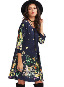 Round Neck 1/2 Sleeve Floral Print Loose Mid-length Dress