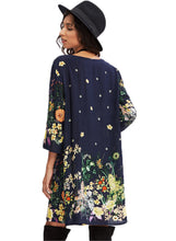 Load image into Gallery viewer, Round Neck 1/2 Sleeve Floral Print Loose Mid-length Dress