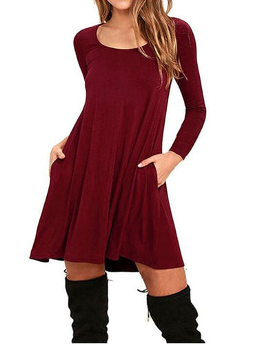 Round Neck Long Sleeve Swing Shirt Pockets Loose Day Dress
