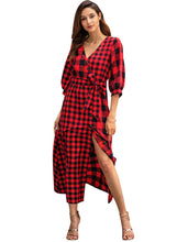 Load image into Gallery viewer, Plaid Long Sleeve Button High Slit Vintage Dress