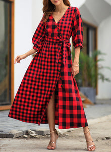Plaid Long Sleeve Button High Slit Vintage Dress