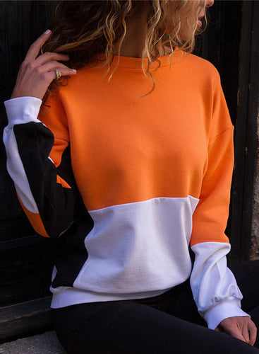 Contrast Color Round Neck Long Sleeve Casual Sweatshirt