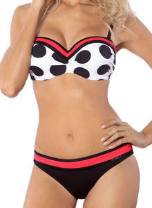Polka Dots Contrast Push-up Bikini Two Piece Swimsuits
