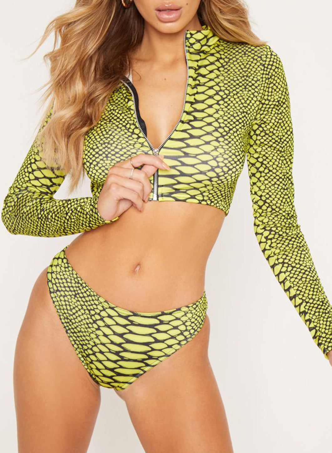 Long Sleeve U-neck Zipper Snakeskin Two-piece Bikini Swimsuits