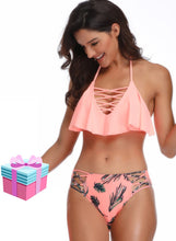 Load image into Gallery viewer, Braid Ruffle Solid Bathing Bikini Set Two Piece Swimsuit