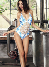 Load image into Gallery viewer, Flower Crochet Print Bikini One Piece Swimsuit