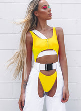 Load image into Gallery viewer, Bare Belly Zip Strap High Waist One Piece Swimsuit