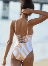 Load image into Gallery viewer, Yellow Striped Triangle Backless Strap One Piece Swimsuit