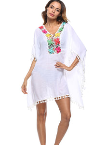 Handmade Lantern Tassel Cutout Smock Beach Dress