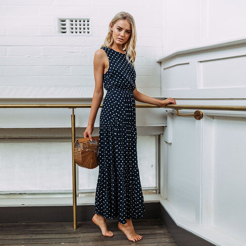 Summer Sleeveless Round Neck Elastic Waist Polka Dot Maxi Dress