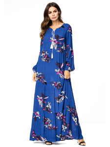 Floral Print V Neck Long Sleeve High Waist Maxi Dress