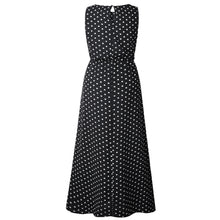 Load image into Gallery viewer, Summer Sleeveless Round Neck Elastic Waist Polka Dot Maxi Dress