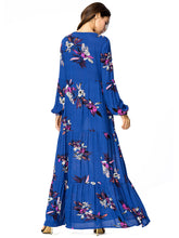 Load image into Gallery viewer, Floral Print V Neck Long Sleeve High Waist Maxi Dress