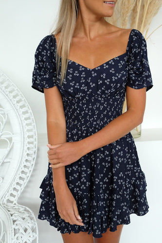 Frida Mini Dress Navy Ditsy Doo