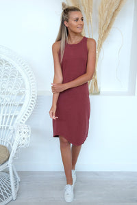 One In Eight Midi Dress Burgundy
