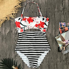 Load image into Gallery viewer, Beach Hit Striped Monokini Halter Swimsuit by Pesci Moda