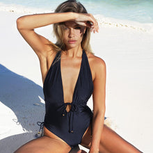 Load image into Gallery viewer, Steamy Hot Blue Halter Swimsuit by Pesci Moda