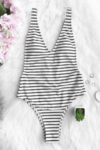 Black Stripe Plunging Swimsuit by Pesci Moda