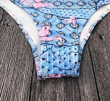 Load image into Gallery viewer, Blue Floral High Cut Beach Swimwear by Pesci Moda