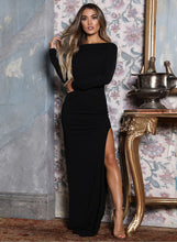 Load image into Gallery viewer, Sexy Open Back High Slit Long Sleeve Maxi Dress