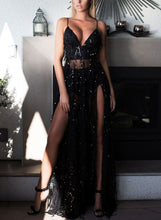 Load image into Gallery viewer, Sexy Sequin Spaghetti Strap V Neck Backless High Slit Cocktail Dress