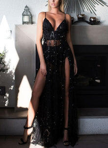 Sexy Sequin Spaghetti Strap V Neck Backless High Slit Cocktail Dress