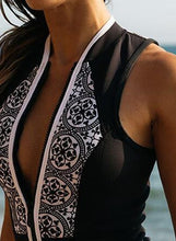 Load image into Gallery viewer, Women's Zipper Sleeveless Printed One Piece Swimwear