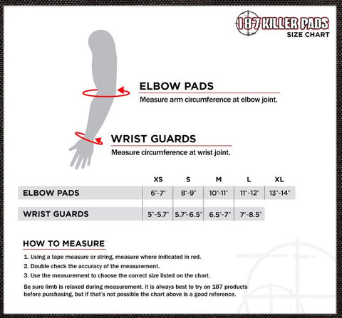 187 elbow pad sizing chart