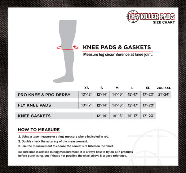 187 Pro Derby Knee Pads: sizing guide
