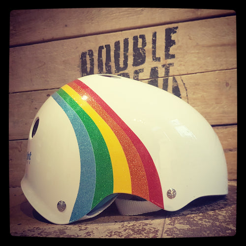 Rainbow Sparkle Triple Eight Sweatsaver Helmet (Dual Certified)-WHITE