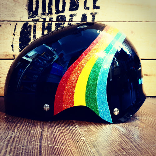 Rainbow Sparkle Triple Eight Sweatsaver Helmet (Dual Certified)-BLACK