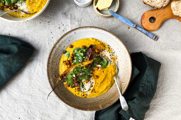 Roasted Carrot, Ginger and Turmeric Soup with Crispy Chickpeas