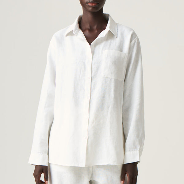 100% Linen Shirt in White