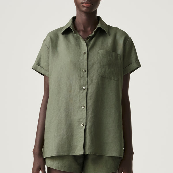 100% Linen Short Sleeve Shirt in Khaki