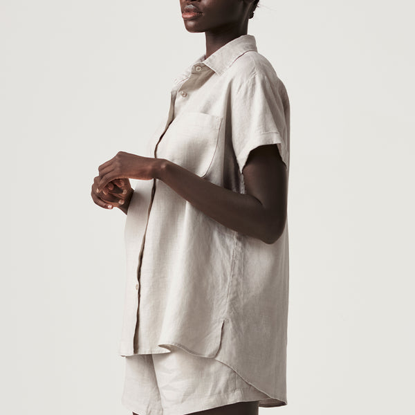 100% Linen Short Sleeve Shirt in Dove Grey